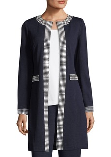 St. John Santana Knit Long Jacket W/ Sequin Border