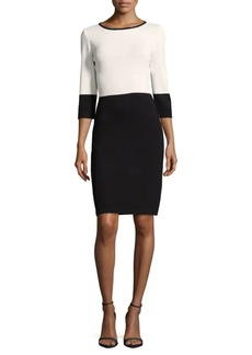 St. John Santana Knit Two-Tone Sheath Dress