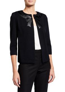 St. John Santana Knit Wool-Blend Faux-Leather Bow Jacket
