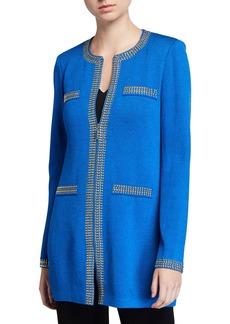 St. John Santana Knit Zip-Front Studded Jacket