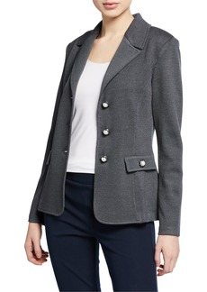 St. John Santana Pearly-Button Wool-Blend Blazer
