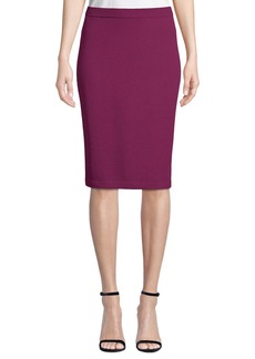 St. John Santana Ribbed Knit Straight Skirt