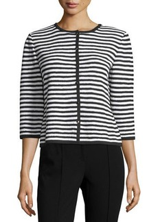 St. John Santana Striped 3/4-Sleeve Cardigan