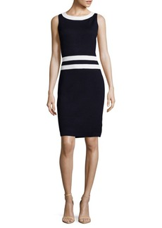 St. John Santana Striped Wool-Blend Sheath Dress