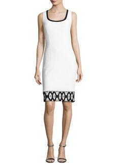 St. John Sara Sleeveless Lace-Trim Sheath Dress
