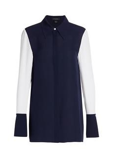 St. John Satin & Silk Georgette Shirt