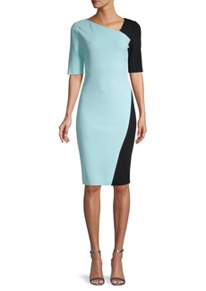 St. John Sculpture Two-Tone Sheath Dress