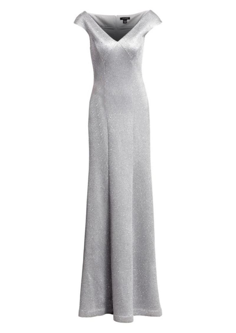 St. John Sequin Birdseye Knit V-Neck Gown