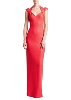 St. John Sequin Knit Halter Gown