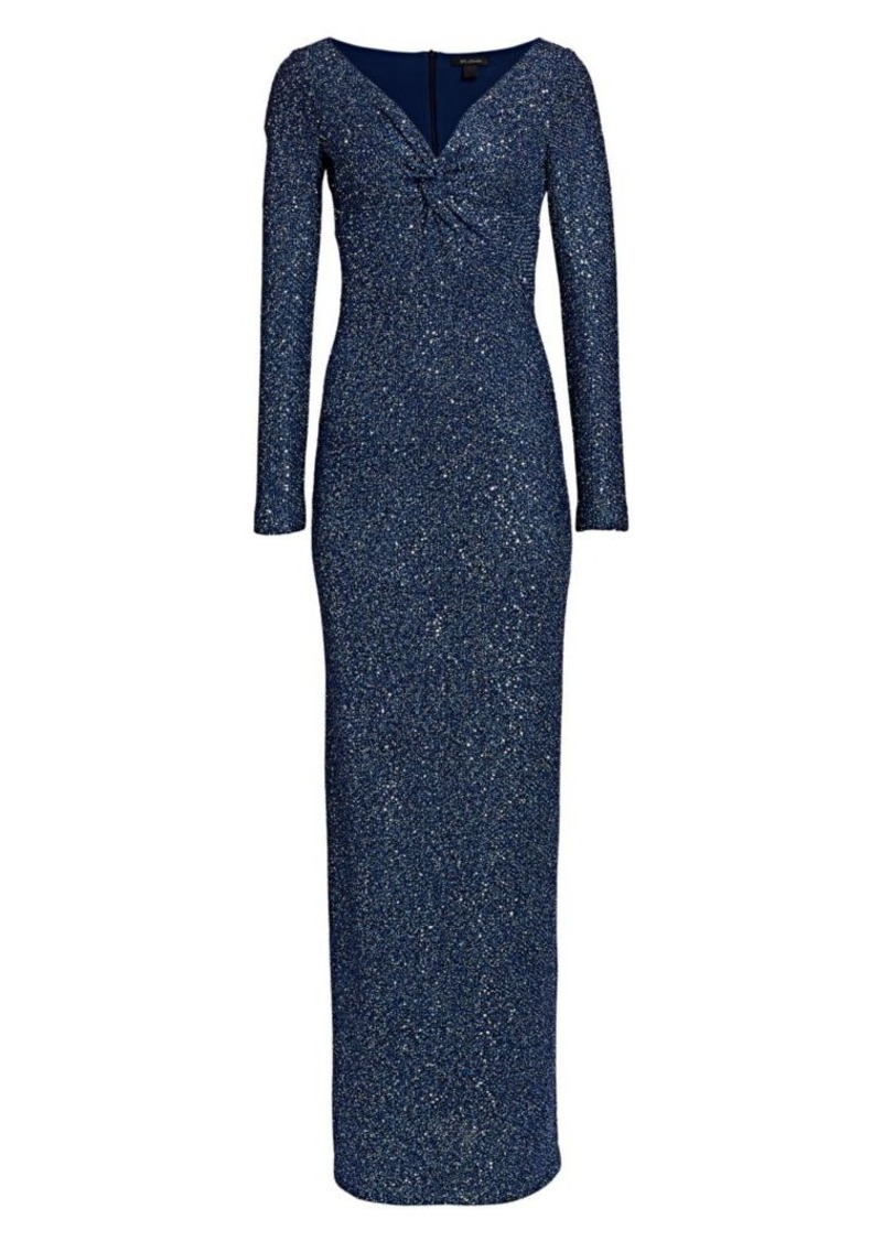 St. John Sequin Knit V-Neck Column Gown