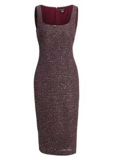 St. John Sequin Tweed Sleeveless Sheath Dress