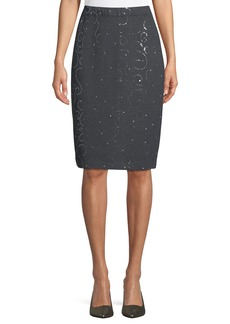 St. John Sequined Knit Pencil Skirt