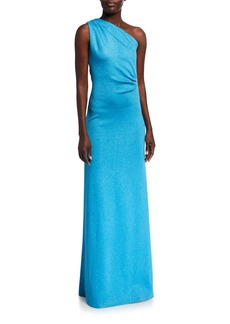 St. John Sequined Milano Knit One Shoulder Column Gown with Gathers