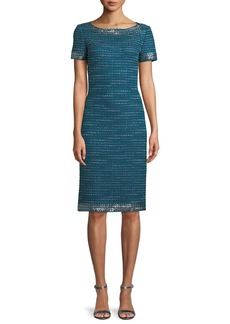 St. John Sequined Sheen Tweed Sheath Cocktail Dress