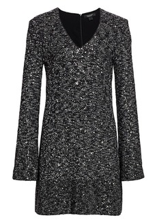 St. John Sequined V-Neck Sweater Dress