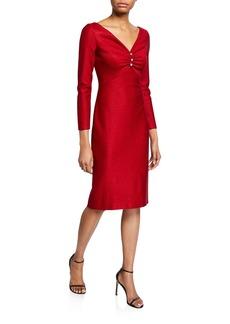 St. John Shimmer Float Knit V-Neck Dress w/ Shirring Detail