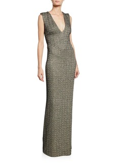 St. John Shimmer Knit Column Gown w/ Crisscross Back