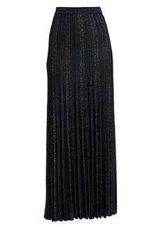 St. John Shimmer Plisse Pleated Jacquard Knit Gown Skirt