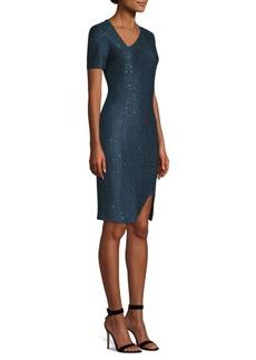 St. John Shimmer Sequin Asymmetric Sheath Dress