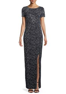 St. John Short-Sleeve Beaded Santana-Knit Gown