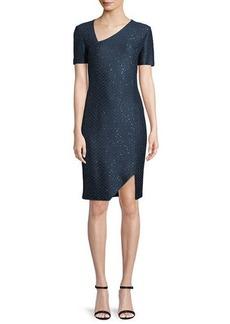 St. John Short-Sleeve Shimmer Sequin Knit Cocktail Dress