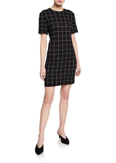 St. John Short-Sleeve Windowpane Jacquard Knit Dress w/ Knit Trim