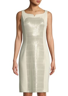 St. John Signature Santana Knit Sequin-Panel Dress