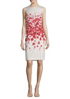 St. John Silk-Blend Floral-Print Sheath Dress