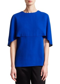 St. John Silk Georgette Cape Short-Sleeve Top