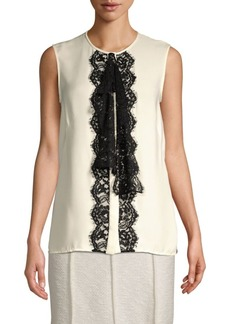 St. John Silk Georgette Lace Sleeveless Blouse