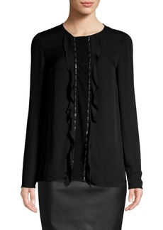 St. John Silk Georgette Studded Blouse