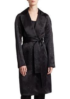 St. John Silk Organza Belted Sequin Jacket
