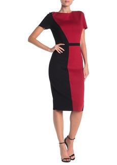 St. John Slanted Colorblock Milano Knit Wool Blend Dress