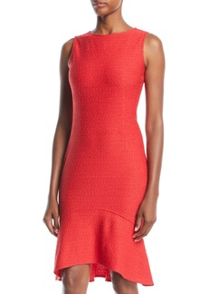 St. John Sleeveless High-Low Flounce Bateau-Neck Dress