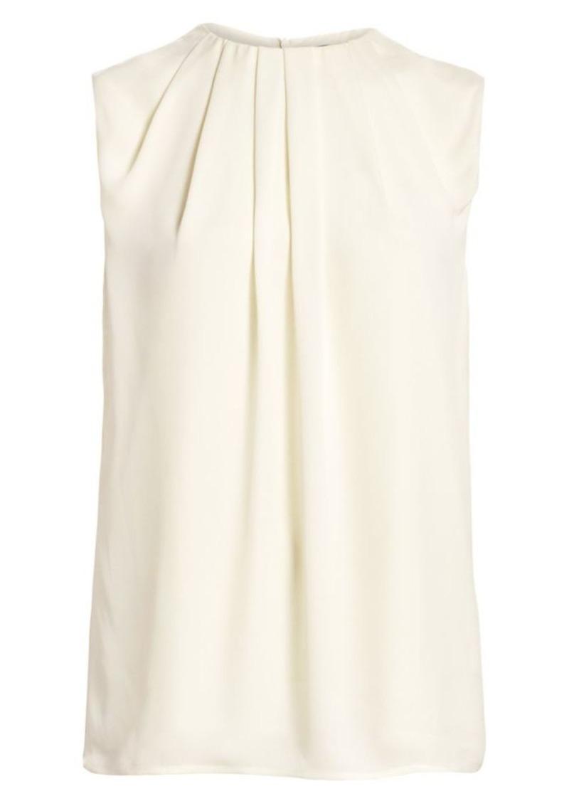 St. John Sleeveless Pleated Silk Shell Top
