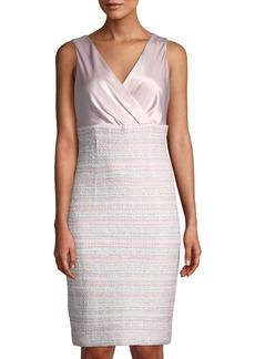 St. John Sleeveless Satin & Tweed Sheath Dress