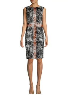 St. John Sleeveless Stretch-Silk Floral Sheath Dress