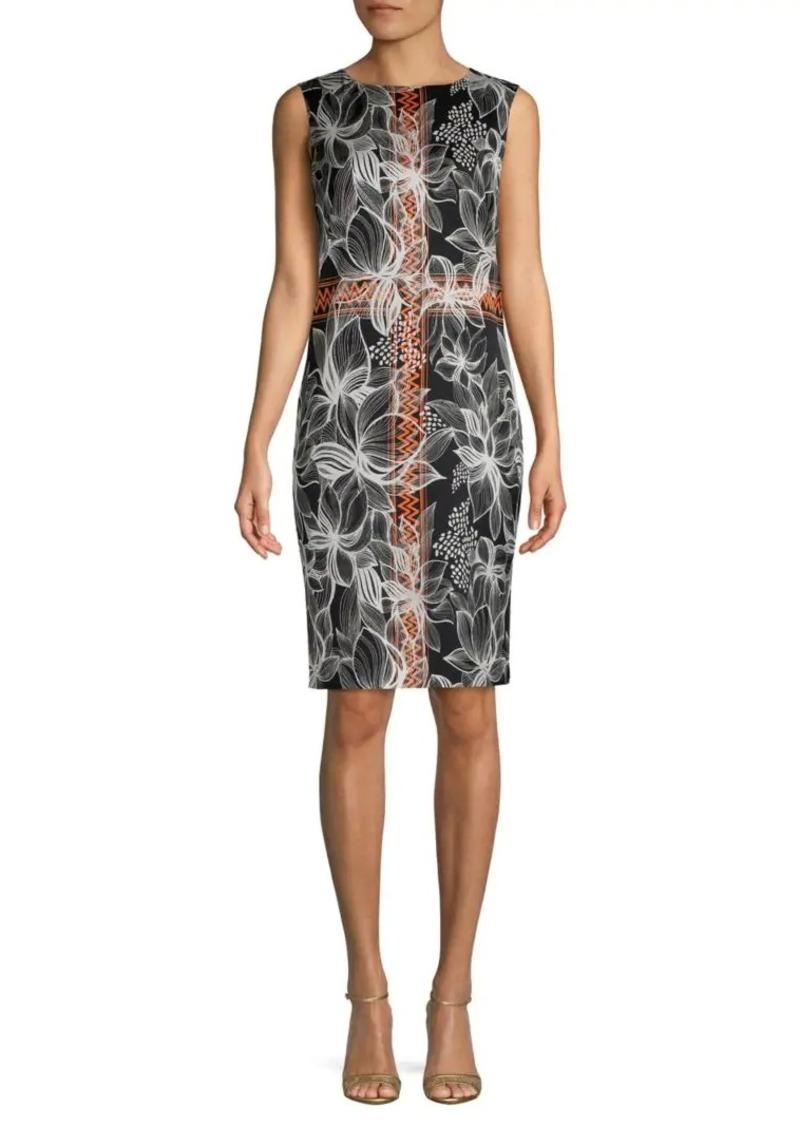 St. John Sleeveless Stretch-Silk Floral Sheath Dress