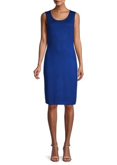 St. John Sleeveless Wool-Blend Sheath Dress
