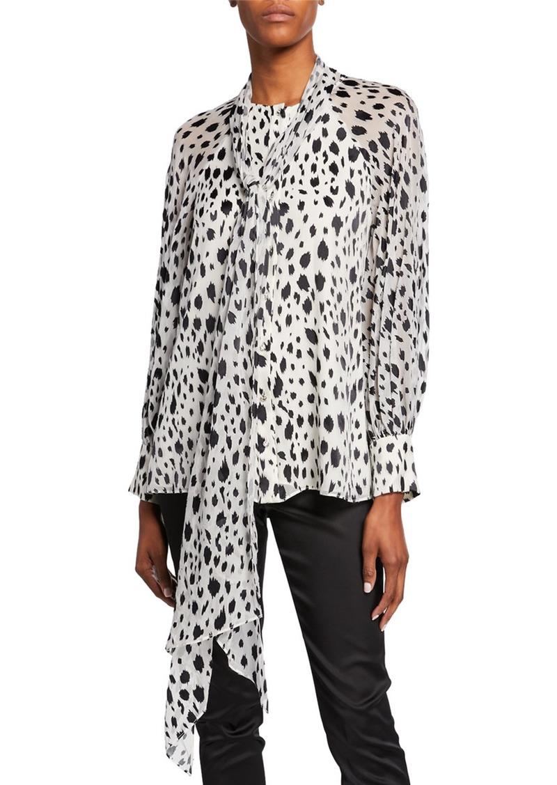 St. John Snow Leopard-Print Devore Blouse with Chiffon Scarf