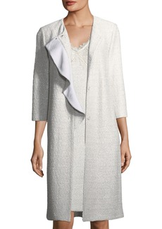 St. John Soft Metallic Knit Long-Line Topper Jacket