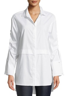 St. John Solid Long-Sleeve Shirting Tunic