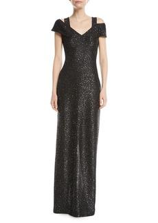 St. John Sparkle Knit Sequin Cold-Shoulder Evening Gown