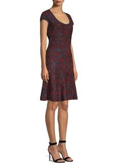 St. John Sparkle Velvet Jacquard A-Line Dress