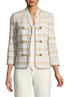St. John Speckled Stripe Tweed Knit Jacket