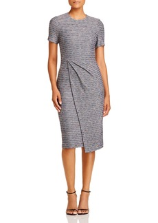 St. John Asymmetric Space-Dye Tweed Midi Dress