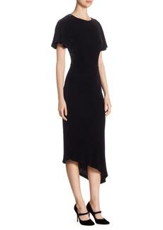 St. John Asymmetric Velvet Midi Dress