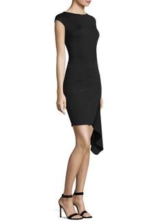 St. John Asymmetrical Milano Sheath Dress