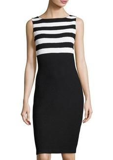 St. John Bouclé-Knit Sleeveless Striped Dress