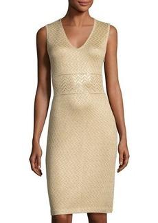 St. John Chevron-Striped Metallic Knit Dress